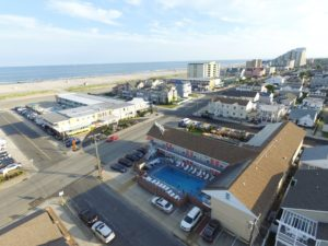 Aerial View of Blue Water Motel and the Beach